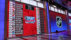 Drafttavlan under NHL-draften 2020.