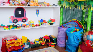 leksaker i ett barnrum