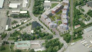 Flygbild på Harpunkvarteret i Åbo.
