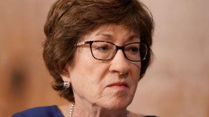 Den republikanska senatorn Susan Collins under ett senatsförhör om vacciner den 9 september i Washington DC.