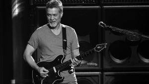 Gitarristen Eddie Van Halen spelar gitarr på en scen. Bilden är svartvit.