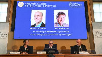 Kemian Nobelpalkintojen julkistustilaisuus.