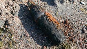 En granat i närbild på en sandstrand plus ett blått öskar av plast.