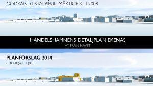 Två bilder över Norra hamnen i Ekenäs. Den övre visar byggmöjligheterna enligt planen från 2008, den nedre byggandet om en ny plan för ett stort affärscentrum godkänns.