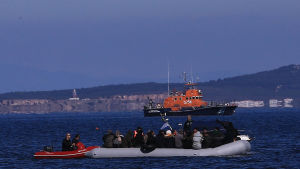 Över 1 000 flyktingar och migranter har sedan veckoslutet tagit sig från Turkiet till grekiska öar i Egeiska havet. Bilden är från ön Lesbos som har tagit emot de flesta flyktingar.