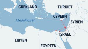 Karta över östra Medelhavet