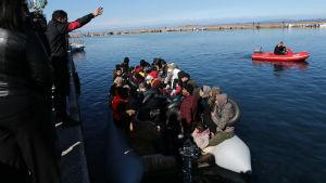 Lokalinvånare på Lesbos försöker hindra en båt med migranter att ta i land.