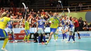 Sverige firar mål mot Finland på dam-VM 2019.