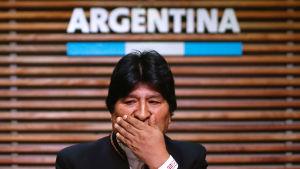 Evo Morales under en presskonferens i Buenos Aires, Argentina den 21 februari då det stod klart att han inte får ställa upp heller i valet för den bolivianska senaten.