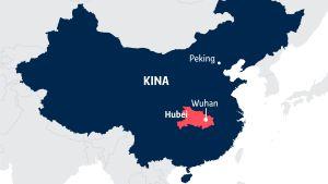 Karta över Kina med Hubeiprovinsen och Wuhan utprickade.
