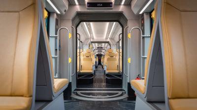 Ny snabbspårvagn i Helsingfors, bilden är fotad inne i spårvagnen.
