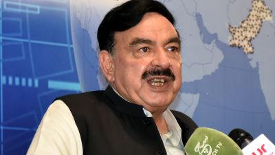 En bild av den pakistanska politikern Sheikh Rashid.