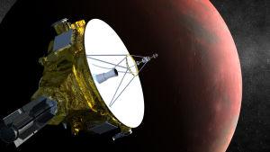 Illustration av sonden New Horizons med Plutos största måne Charon i bakgrunden.