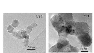 På bilden ser du titandioxid, med små silverpartiklar på