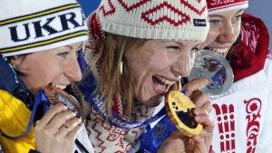 Vita Semerenko, Anastasiya Kuzmina, Olga Viluhina, OS i Sotji 2014.