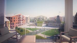 Vision över hur Harpunkvarteret ser ut då det är färdigbyggt.