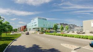 Illustation av hotell och Citymarket vid västra åstranden i Borgå