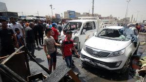 Bilbomb detonerade på en marknad i Bagdad den 11 maj 2015.