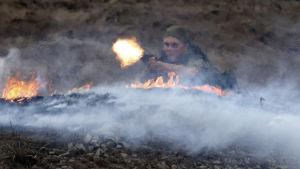 Rysk soldat under en militräövning