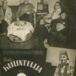 Radiokuuntelija-lehden kansikuva vuodelta 1940. Suomalaiset kuuntelevat radiota pommisuojassa.
