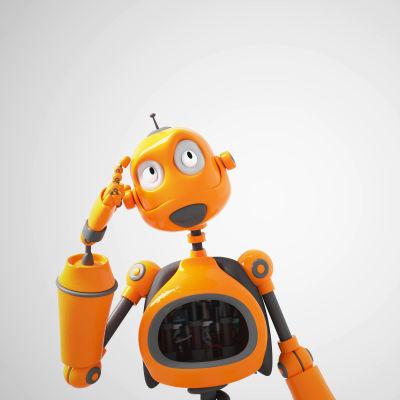 En gul robot är fundersam.