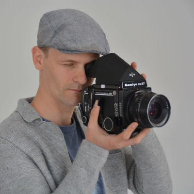 man med kamera