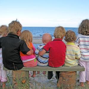 sju barn i olika ålder tittar ut över havet