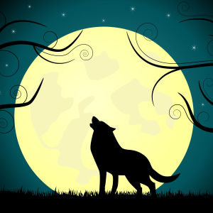 En tecknad vargsiluett ylar mot månen.