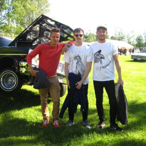 Jontti Granbacka, Karl Hagner och Patric Hjorth på American Car Meeting i Nykarleby