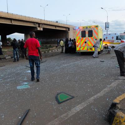 Explosionsplats i Nairobi den 4 maj 2014.