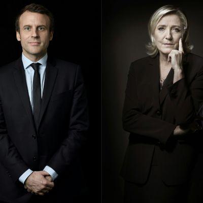 Emmanuel Macron och Marine Le Pen i två porträtt som kombinerats.