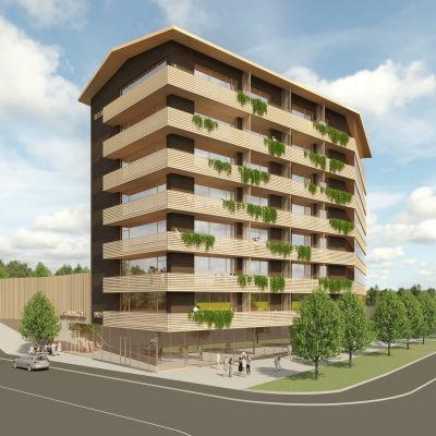 Torinkulman kiinteistön paikalle Mäntyharjulle kaavaillun kahdeksankerroksisen rakennuksen havainnekuva.