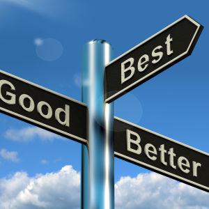 En vägvisare med skuyltar som pekar åt olika håll. Det står på engelska Good, better och best, dvs bra, bättre och bäst på visarna.