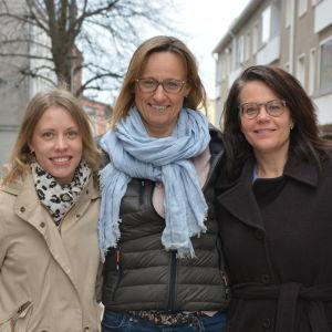 Porträtt av Linda Björkgård, Michaela Romantschuk och Petra Högnäs.