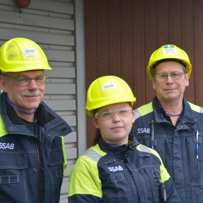 Ulf Heimberg, Säde Sundberg och Timo Jansson på SSAB i Lappvik, Hangö