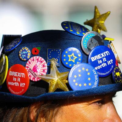 Mielenosoittajan hattu on täynnä brexitiä vastustavia rintamerkkejä.