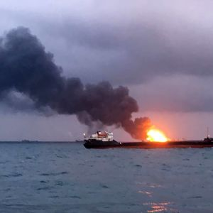 Fartyg i brand i Kertjsundet