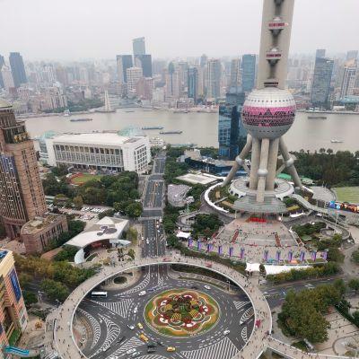 Kaupunkinäkymä Shanghaista.