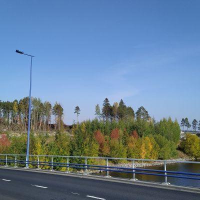 Maisema sillalta kohti Kumpusaarentietä.