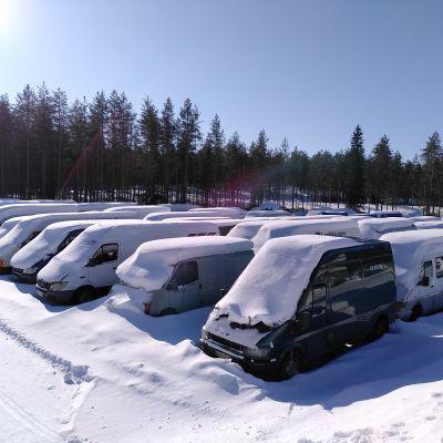 Useita pakettiautoja lumen peittäminä.