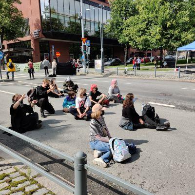 mielenosoittajia kadulla