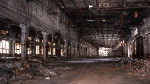 Insidan av nedlagd fabrik