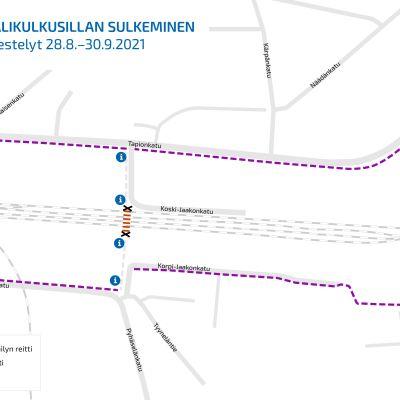 Kartta remontin aikaisista liikennejärjestelyistä.