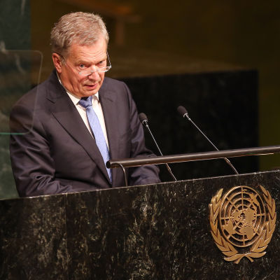 President Sauli Niinistö talar vid FN-konferens i New York den 25 september 2015.