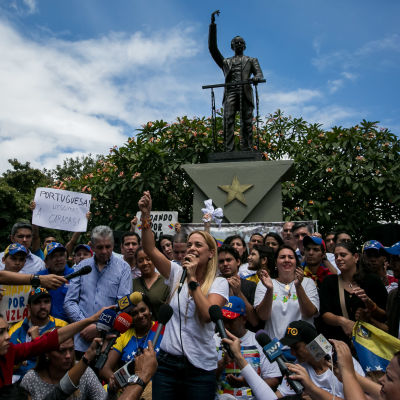 Oppositionen samlas till demonstration i Venezuela.