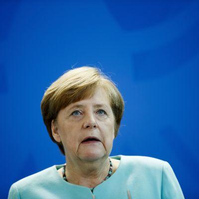 Tysklands förbundskansler Angela Merkel vid en presskonferens i Berlin den 2 juni 2017.