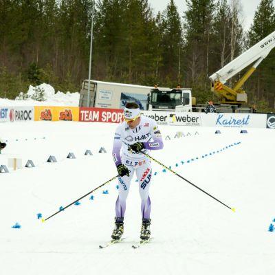 Sami Jauhojärvi stannar tävlingsklockan.