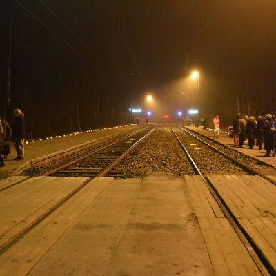 Bobäcks byaförening höll en minnesceremoni med anledning  av att  tågtrafiken upphör.