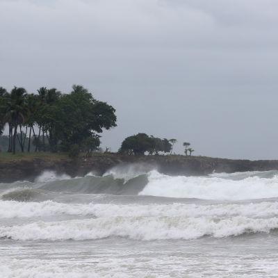 Vågor slår mot en strand i Haitis grannland, Dominikanska republiken den 3 oktober 2016.