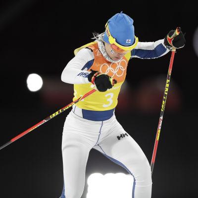 Riitta-Liisa Roponen hade det jobbigt på den tredje sträckan.